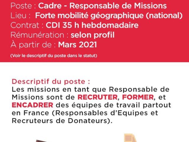 Offre d'emploi - Responsable de Missions - CDI